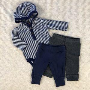 Carter's Baby Boy Bundle Blue Pants Hooded Top